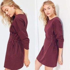 Urban Outfitters Lace Up Corset T-Shirt Dress M